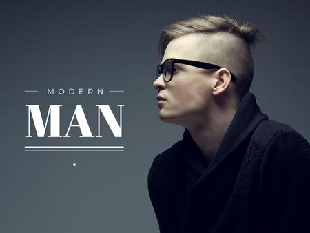 Stylish Man in glasses Presentation Modelo de Design