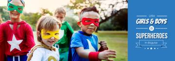 Childhood Quote Kids in Superhero Costumes | Tumblr Banner Template