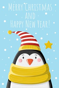 Christmas Greeting Cute Penguin in Hat