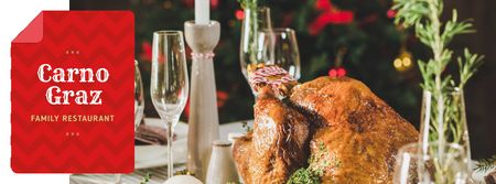 Plantilla de diseño de Restaurant Dinner whole Roasted Turkey Facebook cover