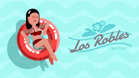 Plantilla de diseño de Vacation Theme with Woman in Lifesaver Full HD video