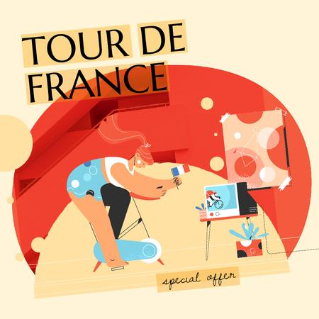 Tour De France Offer with Girl Riding Bicycle Animated Post Modelo de Design