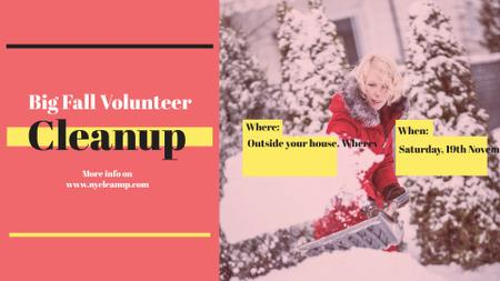 Woman at Winter Volunteer clean up FB event cover Modelo de Design