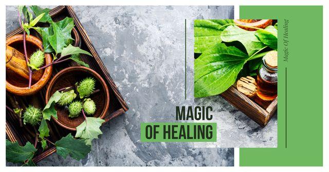 Ontwerpsjabloon van Facebook AD van Medicinal herbs on table