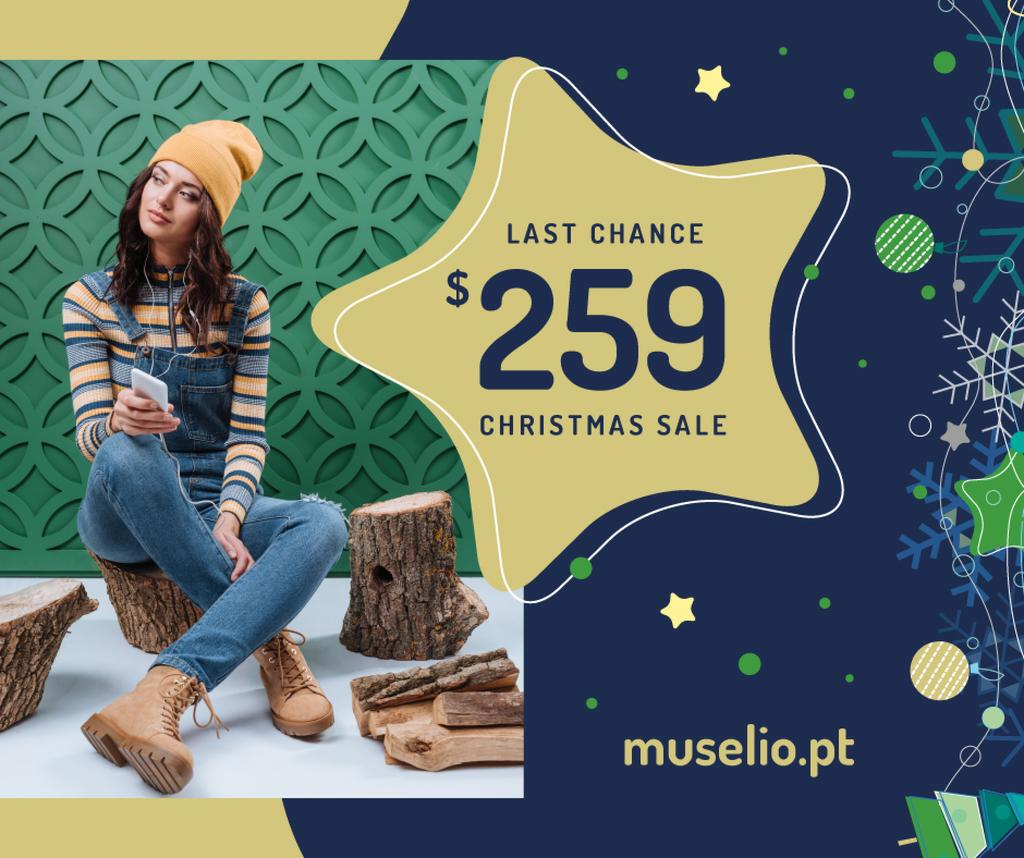 Christmas Sale Girl in Denim Overalls — Créer un visuel