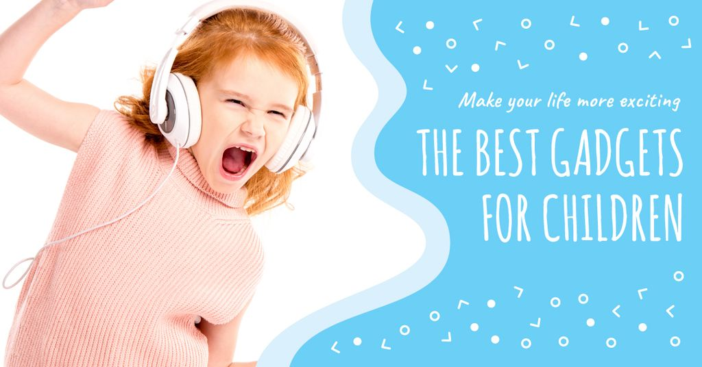 Emotional kid listening to music — Create a Design