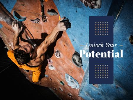 Ontwerpsjabloon van Presentation van Motivational Quote with Climber
