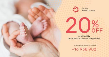 Baby Feet in Parents' Hands Facebook AD Modelo de Design