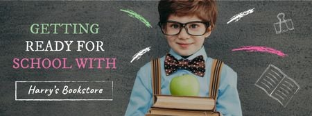 Designvorlage Back to School with Boy Pupil in classroom für Facebook cover