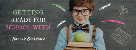 Modèle de visuel Back to School with Boy Pupil in classroom - Facebook cover
