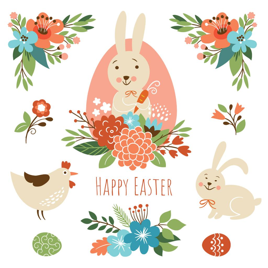 Cartoon Easter bunny with chicken and flowers — Create a Design