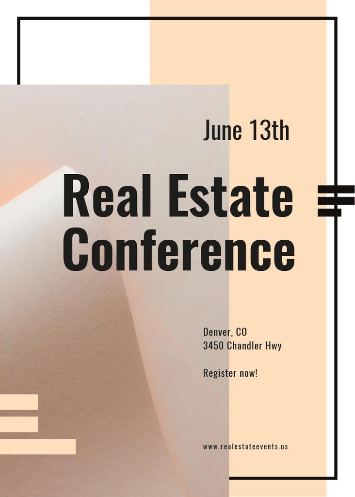 Real estate conference ad on Beige paper Invitation – шаблон для дизайну