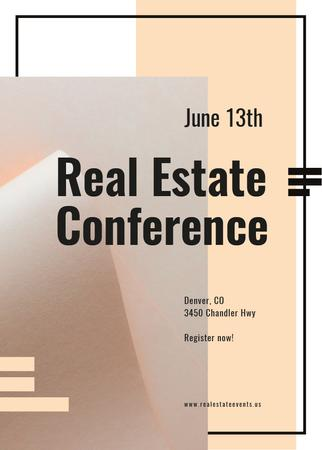 Real estate conference ad on Beige paper Invitation Tasarım Şablonu
