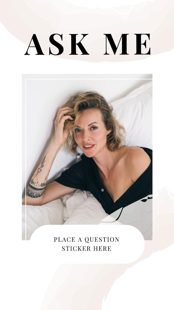 Question Form with Attractive Woman in white Instagram Story Tasarım Şablonu