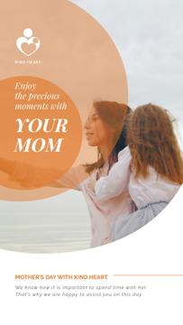 Mother's Day Greeting Mother and Daughter by the Sea | Vertical Video Template