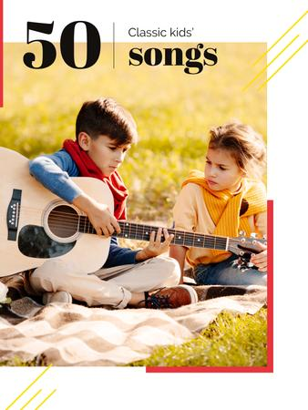 Girl listening to boy playing Guitar Poster US Modelo de Design