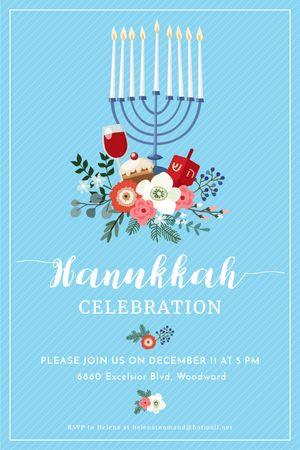 Hanukkah Celebration Invitation Menorah on Blue Tumblr Modelo de Design