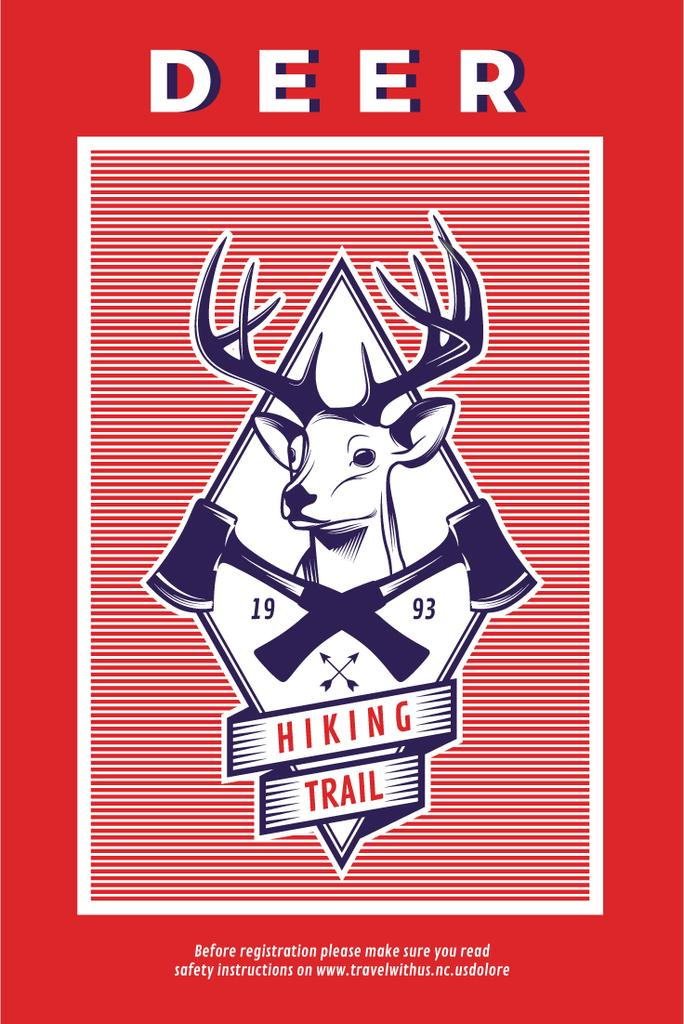 Hiking Trail Ad Deer Icon in Red — Modelo de projeto