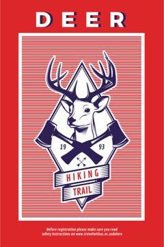 Hiking Trail Ad with Deer Icon in Red