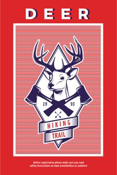 Hiking Trail Ad Deer Icon in Red | Pinterest Template