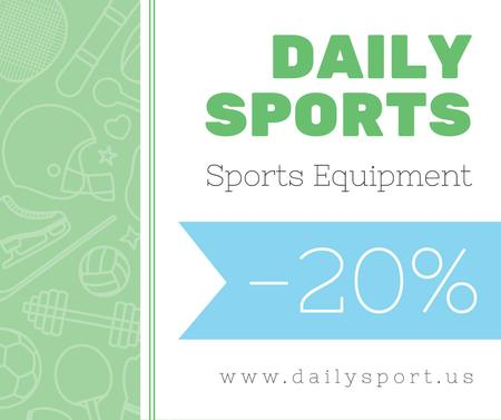 Sports equipment sale on sport icons pattern Facebook Modelo de Design