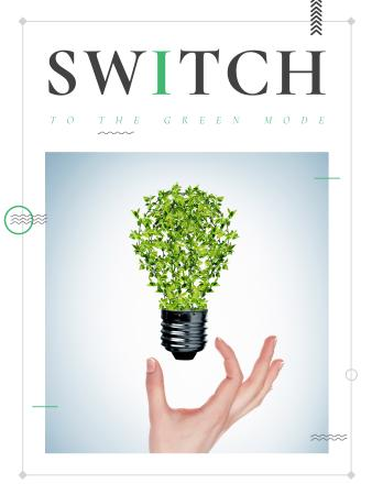Template di design Eco Light Bulb with Leaves Poster US
