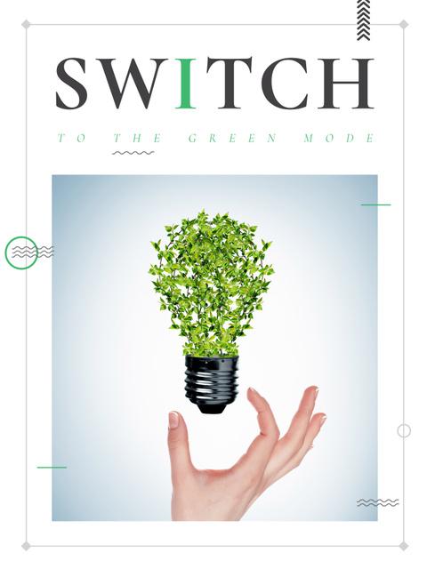 Eco Light Bulb with Leaves Poster US – шаблон для дизайна
