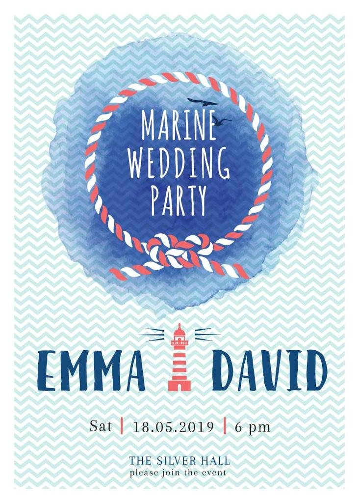 Marine Wedding Party invitation in Blue — Crear un diseño