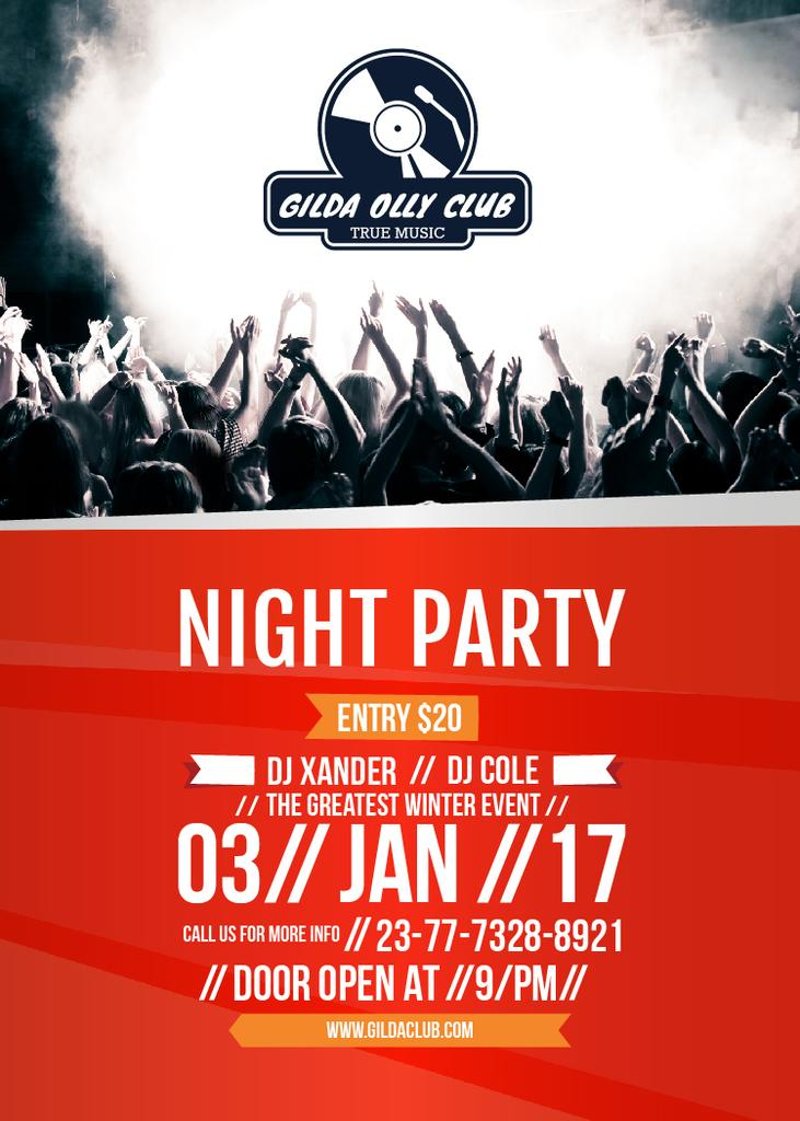 Designvorlage Night Party Invitation Crowd in the Club für Flayer