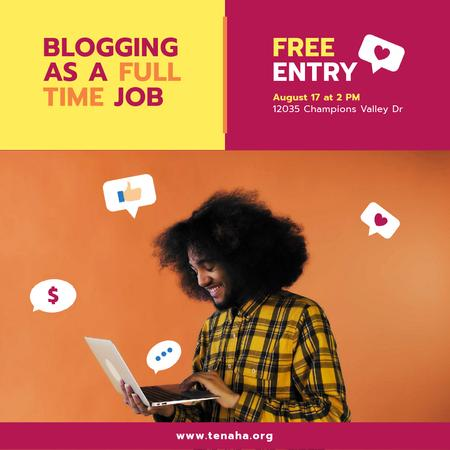 Modèle de visuel African American Blogger Holding Laptop with Icons and smiling - Animated Post