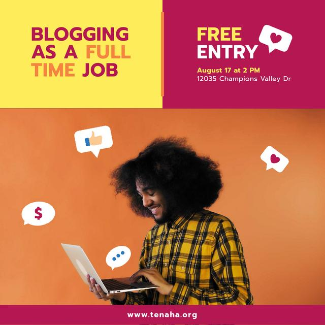 African American Blogger Holding Laptop with Icons and smiling Animated Post Tasarım Şablonu