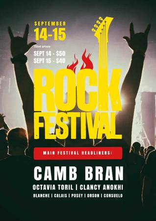 Rock Festival with Cheerful Crowd Poster Design Template