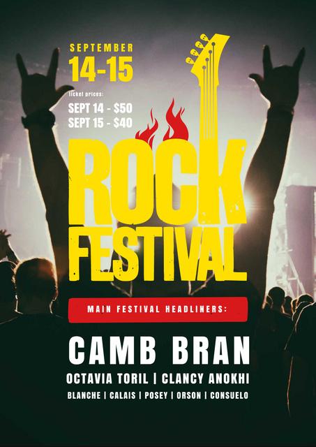 Plantilla de diseño de Rock Festival with Cheerful Crowd Poster