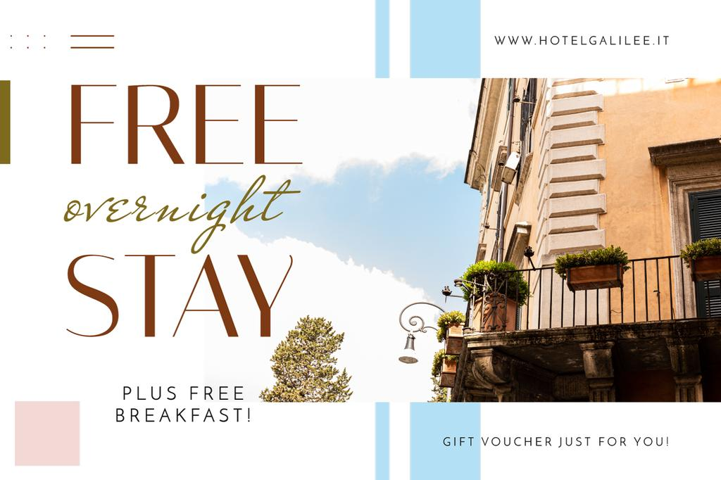 Hotel Offer Old Building Facade | Gift Certificate Template — Créer un visuel