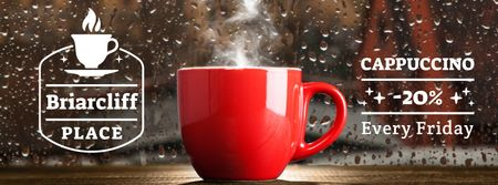 Cup with steaming drink on windowsill Facebook Video cover Design Template