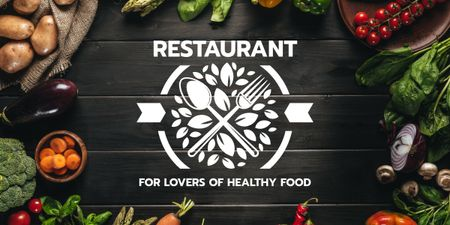 Healthy Food Menu in Vegetables Frame Image Design Template