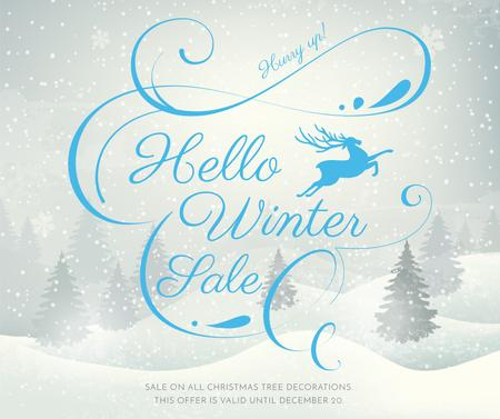 Szablon projektu Winter Sale announcement with Snowy forest Facebook