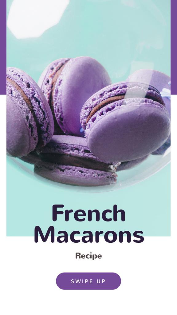 French Macarons Recipe Ad in Purple — Modelo de projeto