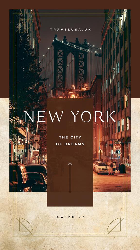 Modèle de visuel Night New York city view - Instagram Story