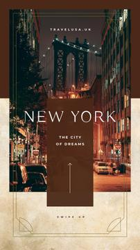 Night New York city view