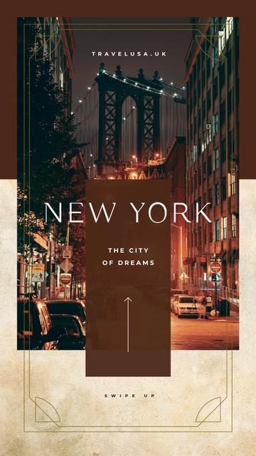 Szablon projektu Night New York city view Instagram Story