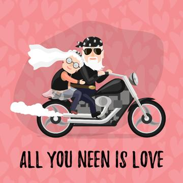 Senior Newlyweds riding on Motorcycle