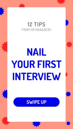 Plantilla de diseño de Business Interview tips on bright pattern Instagram Story