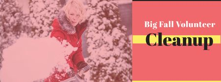 Winter Volunteer clean up Facebook cover Modelo de Design