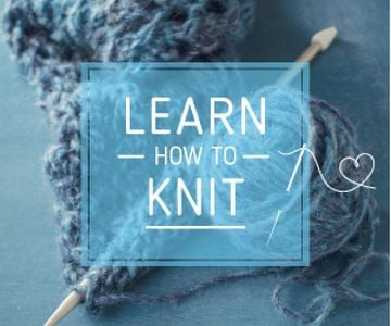 Knitting Workshop Advertisement Needle and Yarn in Blue