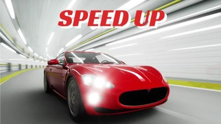 Red Sports Car Driving Fast Full HD videoデザインテンプレート