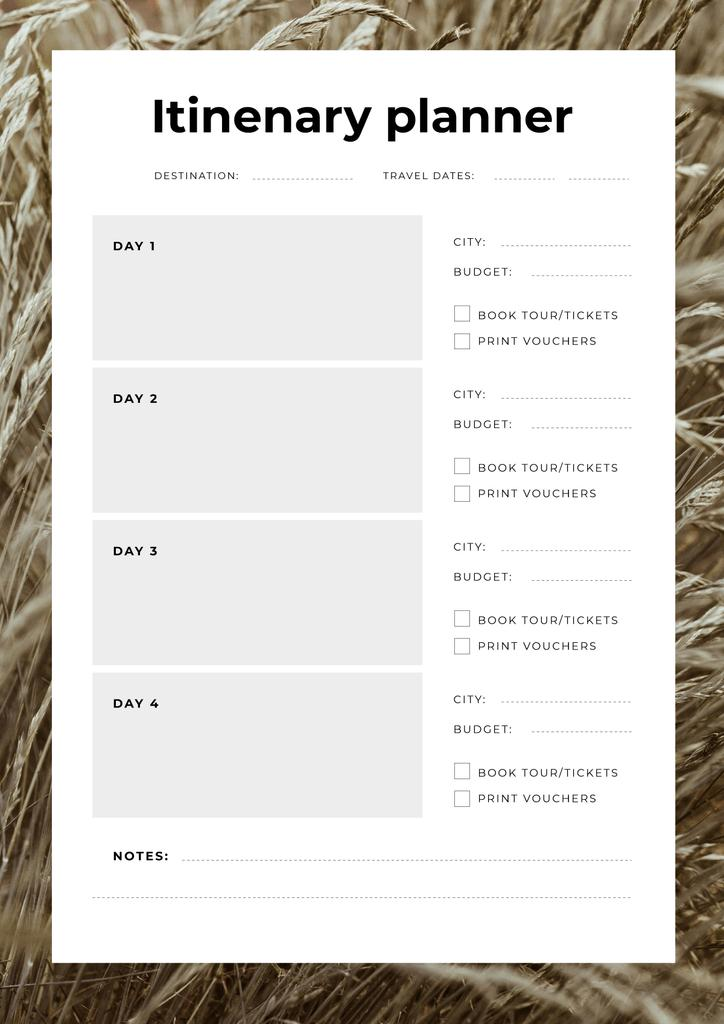 Itinerary Planner in Wheat Frame — Створити дизайн