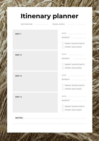 Modèle de visuel Itinerary Planner in Wheat Frame - Schedule Planner