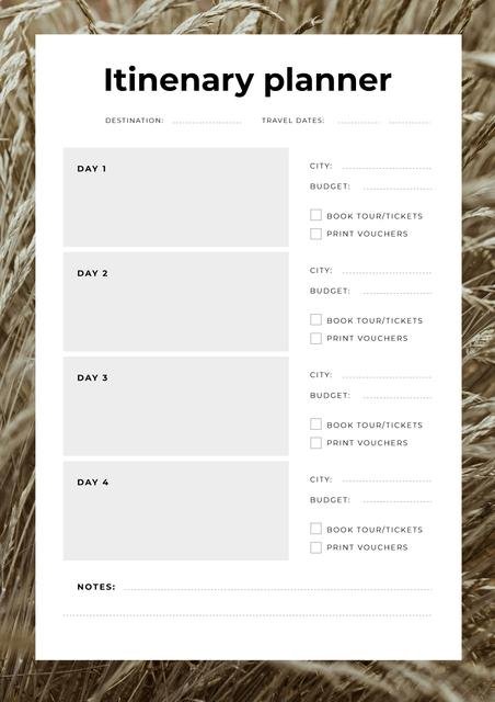 Itinerary Planner in Wheat Frame Schedule Planner Design Template
