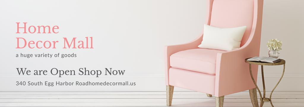 Furniture Shop Ad Pink Cozy Armchair —デザインを作成する